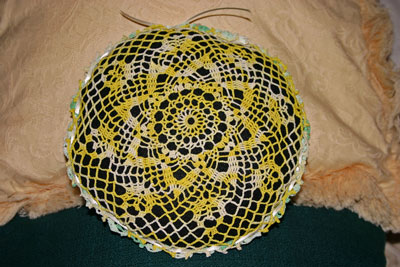 Frugal fun crafts doily pillow finished yellow side