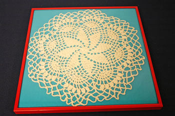 Frugal fun crafts framed doily position in frame