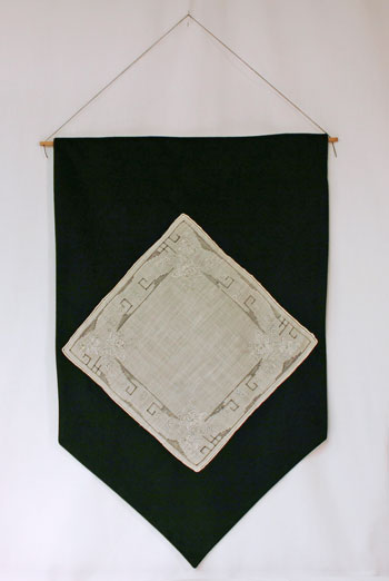 Frugal fun crafts handkerchief wall hanging finished on wall