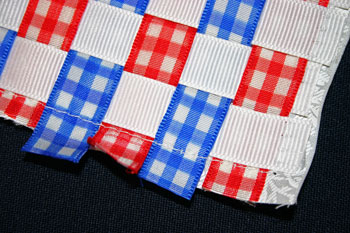 Frugal fun crafts woven ribbon pillow sew ribbon ends to fabric