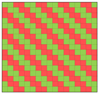 Fun Easy Ribbon Pillow Shaker Style Weave diagram of pattern