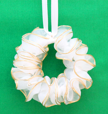 Golden Ribbon Wreath Ornament