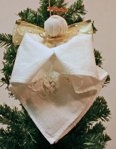 Easy Angel Crafts Handkerchief Angel hanging on tree