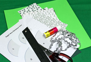 Paper Arcs Christmas Tree materials and tools