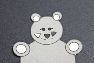 Paper Circles Teddy Bear step 2 cut out the nose