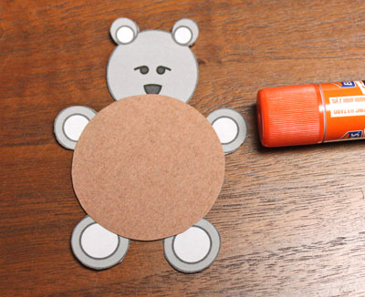 Paper Circles Teddy Bear step 5 glue large body circle