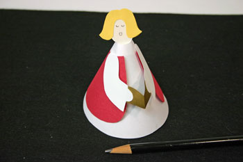 Easy Angel Crafts - Paper Cone Angel - draw eyes and mouth