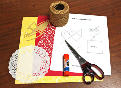Paper Patchwork Angel materials and tools