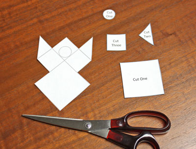 Paper Patchwork Angel step 1 cut around pattern