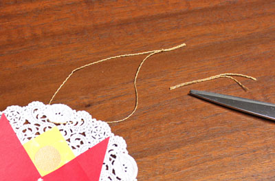 Paper Patchwork Angel step 11 tie knot and trim ends