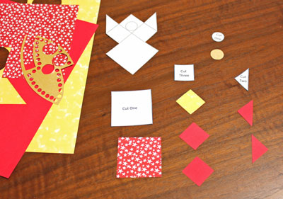 Paper Patchwork Angel step 2 cut out shapes