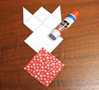 Paper Patchwork Angel step 3 glue large square