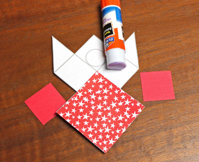 Paper Patchwork Angel step 4 glue two small squares