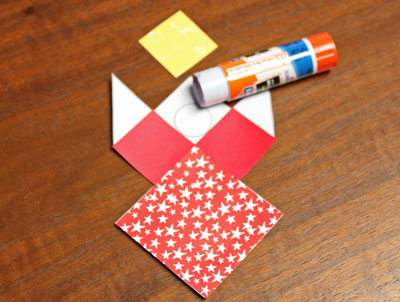 Paper Patchwork Angel step 5 glue third small square
