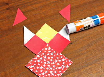 Paper Patchwork Angel step 6 glue two triangles