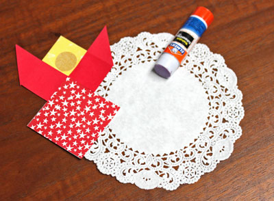 Paper Patchwork Angel step 8 glue angel to doily