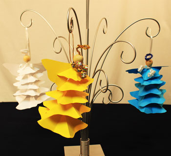 Easy Angel Crafts Paper Star Angel Ornament - three finished hanging on an ornament tree