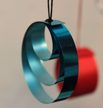 Easy Christmas crafts Ribbon Circles Ornament finished blue