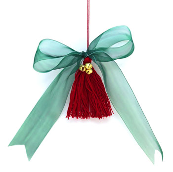 Ribbon and Bell Tassel Ornament finished in red and green
