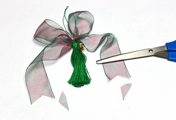 Ribbon and Bell Tassel Ornament step 19 trim ribbon ends