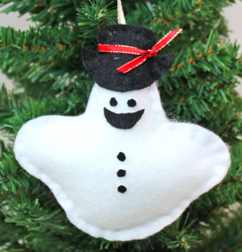 Stuffed Felt Snowman Ornament