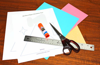 Art Deco Paper Christmas Tree materials and tools