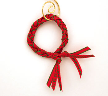 Braided ribbon wreath ornament larger wreath on display