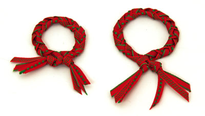 Braided ribbon wreath ornament comparing two wreaths