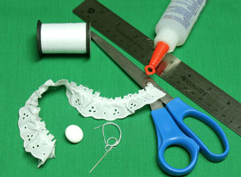 Button and Lace Ornament materials and tools