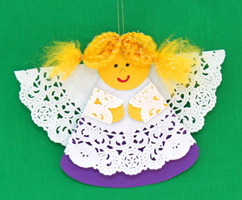 Cardstock and Doily Angel step 21 hang to display