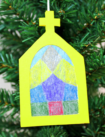 Church Window Ornament yellow finished and hanging on tree