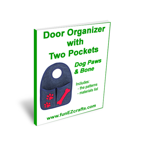 Door Organizer Two Pockets with Dog Paws and Bone - Patterns Only