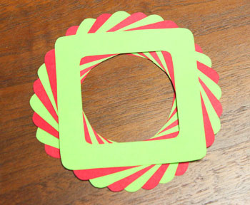 Eight Squares Wreath Ornament step 8 shapes glued together