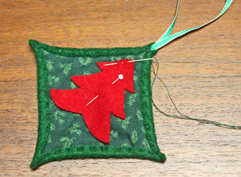 Felt Cathedral Window Ornament step 11 begin sewing tree