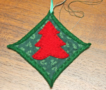 Felt Cathedral Window Ornament step 12 finish sewing tree shape