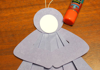 Folded Square Paper Angel step 10 glue face