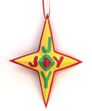 Joyful Star Ornament finished and hanging on display
