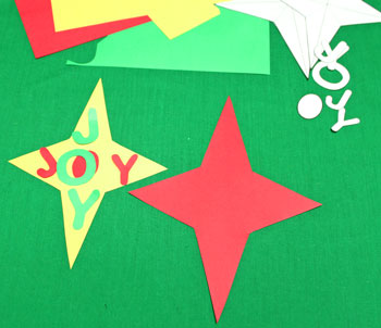 Joyful Star Ornament step 2 cut shapes from colored paper