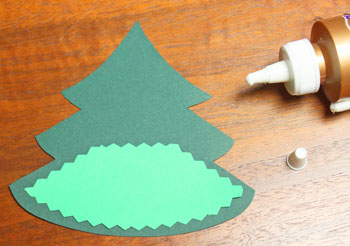 Layered Christmas Tree step 2 glue first base