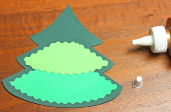 Layered Christmas Tree step 3 glue first middle section