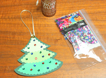 Layered Christmas Tree step 8 glue sequin ornaments