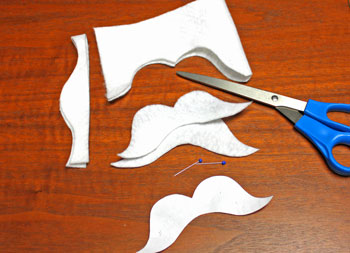 Mustache Angel step 2 cut around the shapes