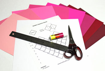 Ombre Squares Heart materials and tools