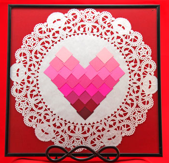 Ombre Squares Heart step 9 optional doily background