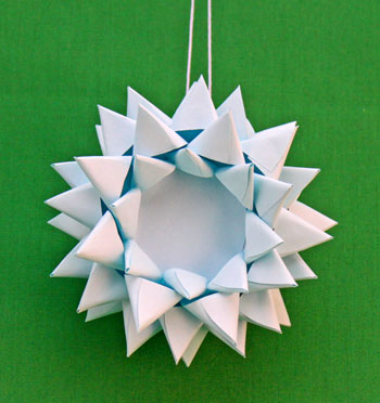 Paper Chrysanthemum Ornament finished and hanging on display
