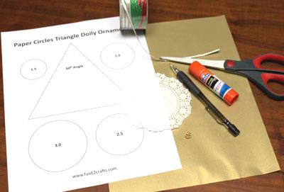 Paper Circles Triangle Doily Ornament materials and tools