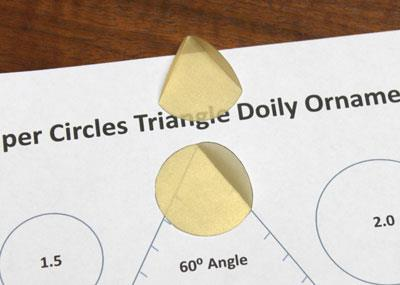 Paper Circles Triangle Doily Ornament step 2 fold two arcs