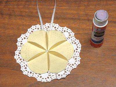 Paper Circles Triangle Doily Ornament step 8 glue circles to doily