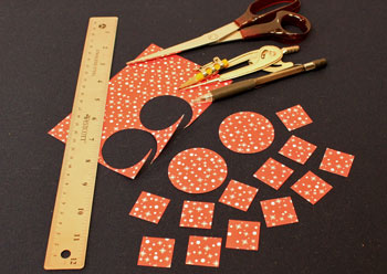Easy Christmas Crafts Paper Pinwheel Wreath Ornament step 1 cut circles and squares