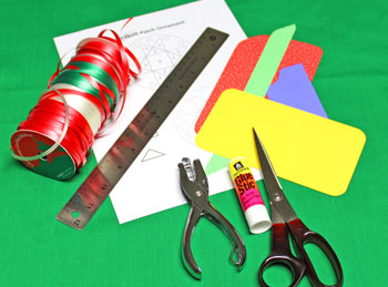 Paper Quilt Patch Ornament materials and tools